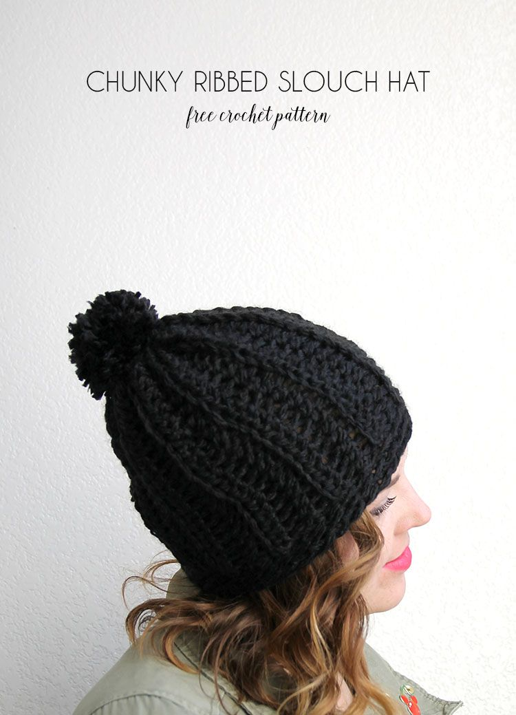 Chunky Ribbed Slouch Hat - Free Chunky Crochet Hat Pattern | Slouch ...