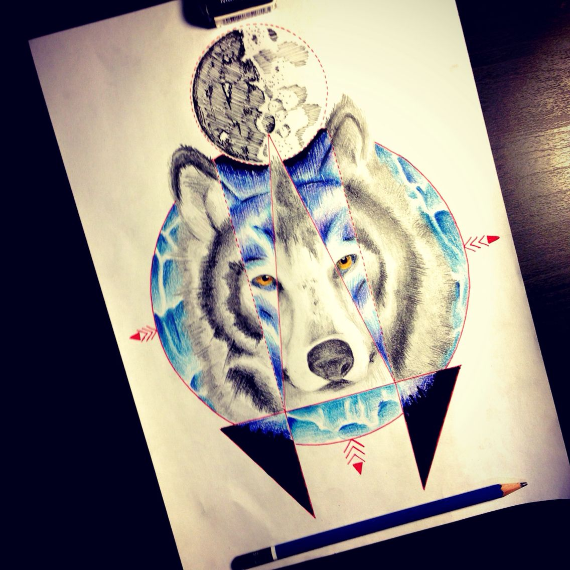 • Wolf • #wolf #moon #abstract #geometric #illustation #tattoo #idea #draw #art