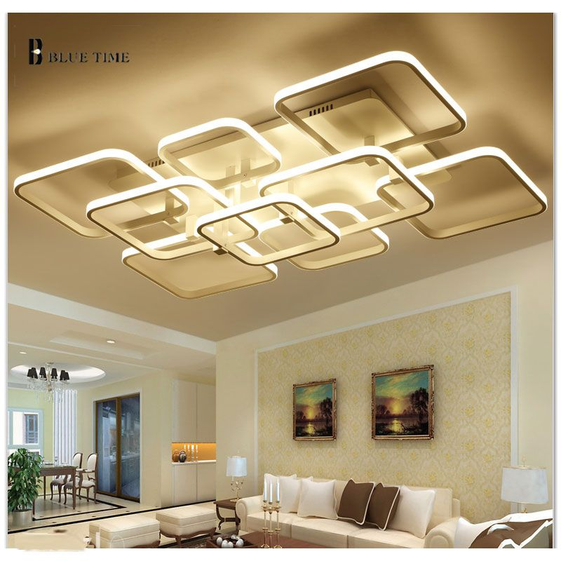 living room ceiling lights modern designs with hardwood floors new rectangle remote control bed light led luminarias para sala dimming lamp
