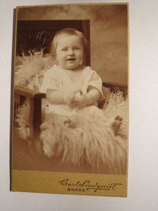 Vintage cabinet card of Swedish baby boy