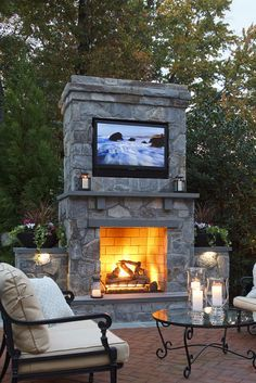 Backyard patio with fireplace tv google search home - Outdoor fireplace with tv ...