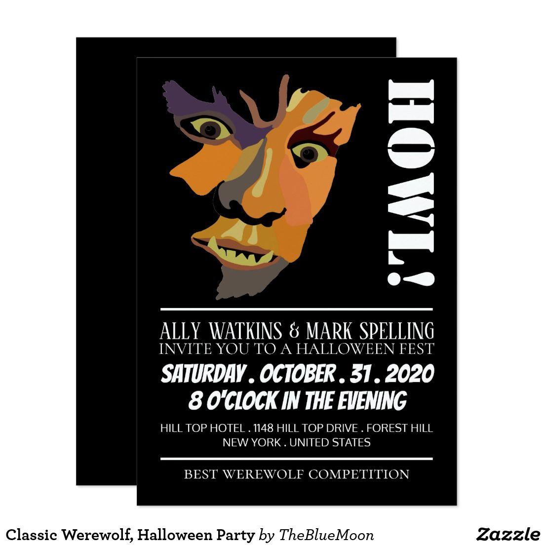 Classic Werewolf Halloween Party Invitation Zazzle Com