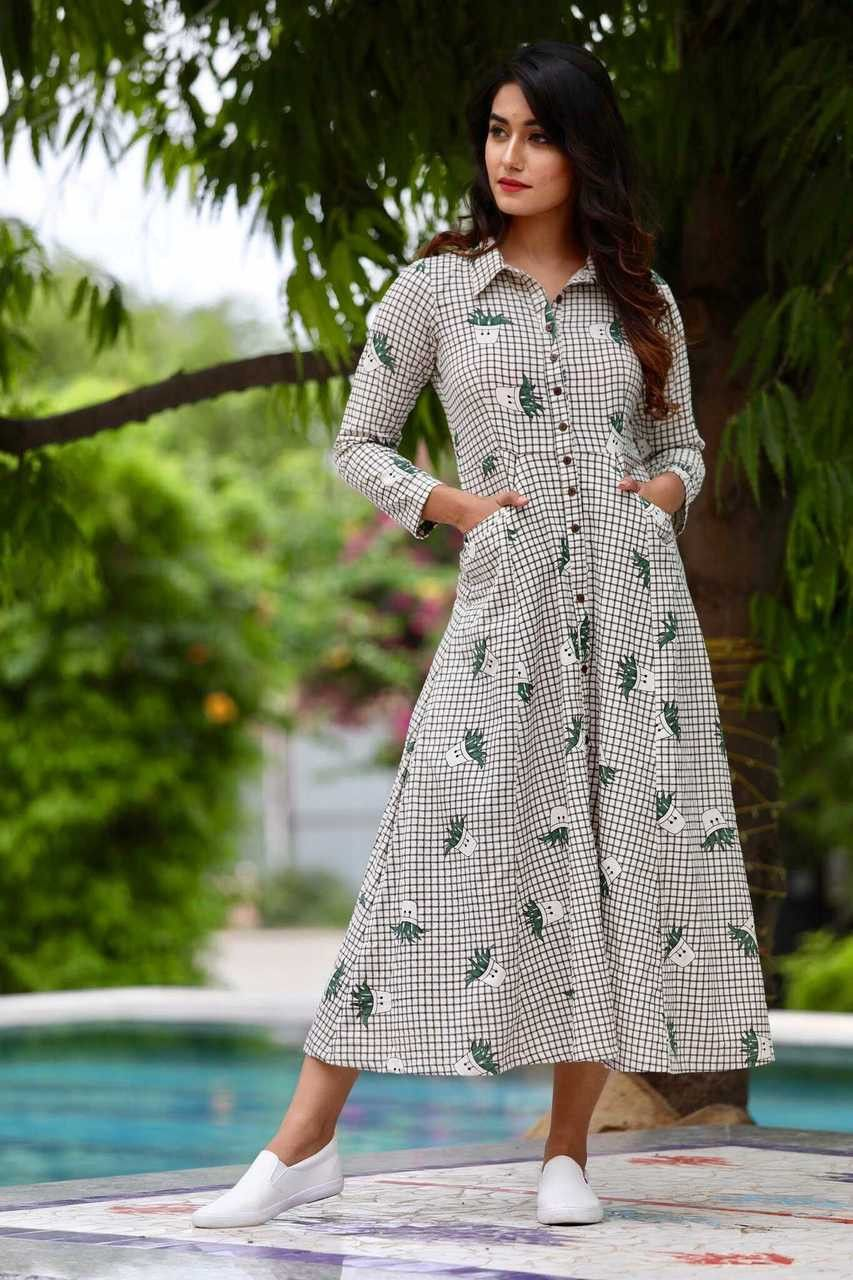 380099fde1eb Shop online Green shirt collar flared dress A fit and flare button down  maxi in aloe vera print and checks in background with side pockets.