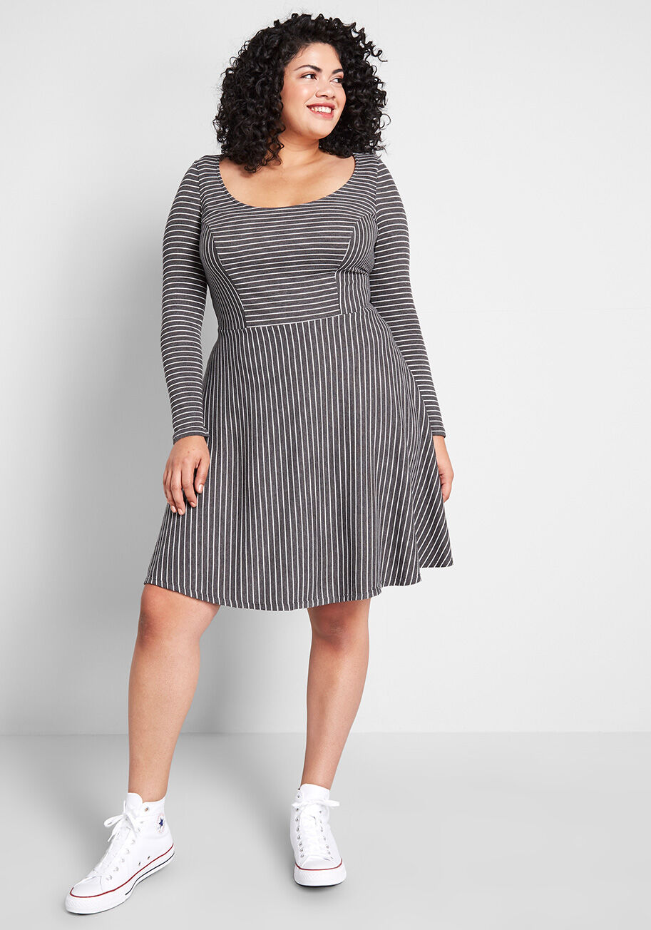 Modcloth Weekend Plans Fit And Flare Dress Grey White Stripes Modcloth Fit And Flare Flare Dress Fit And Flare Dress [ 1304 x 913 Pixel ]