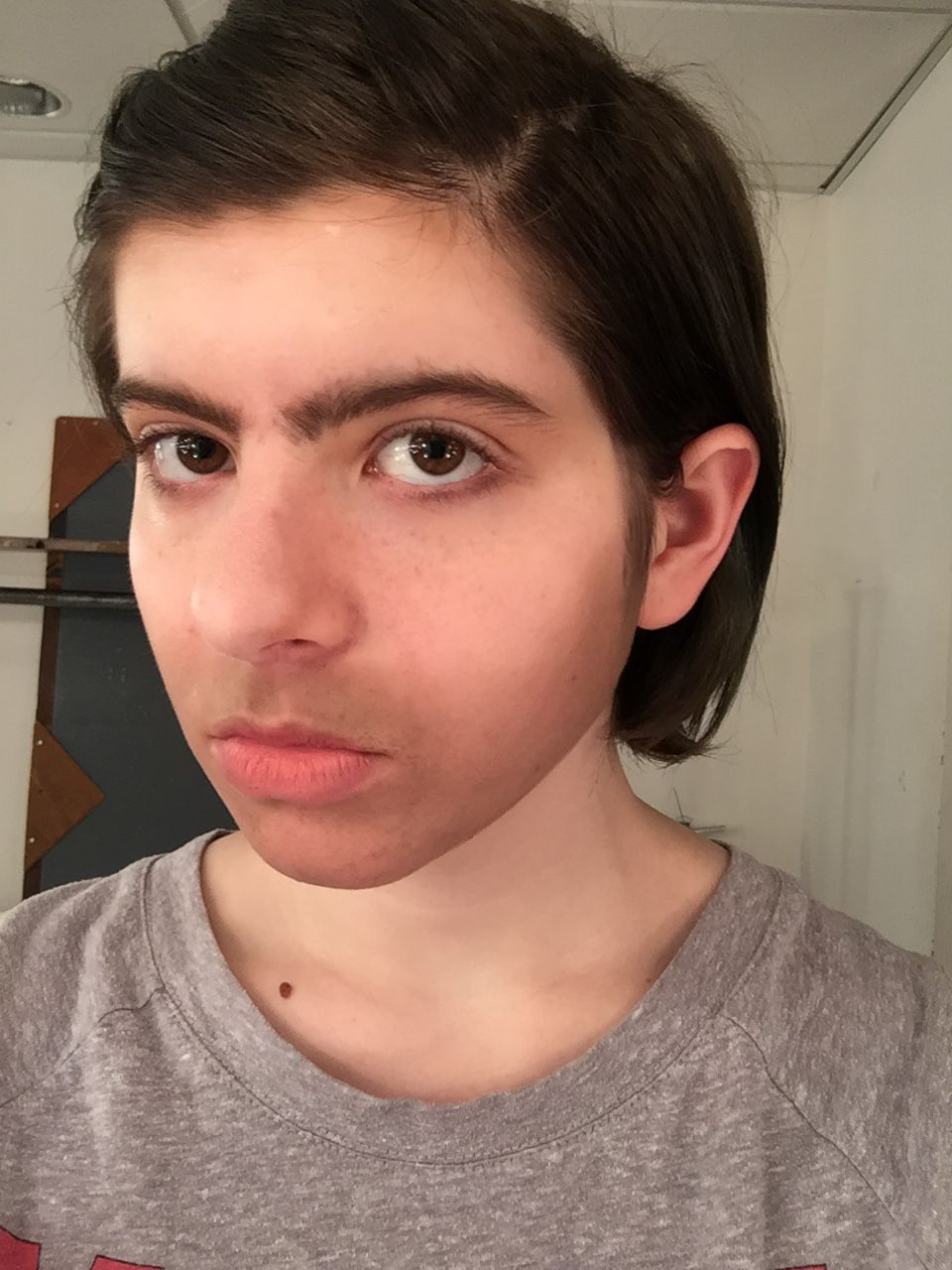 My gender transformation look- the five o'clock shadow is a little TOO blended, but I loved the eyebrows and sideburns that I did!