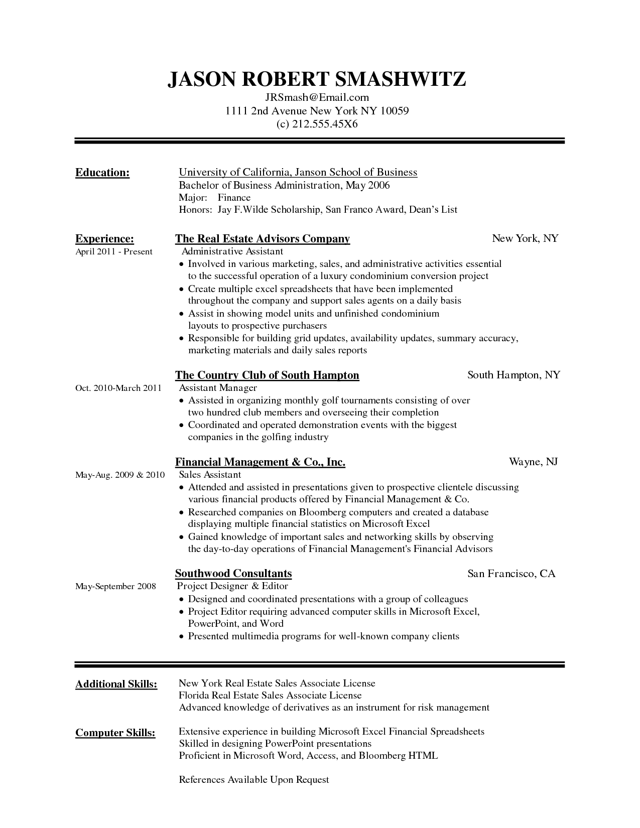format of resume word document