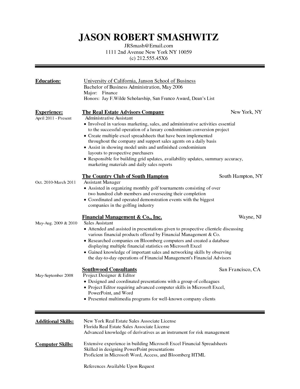 Resume Sample Excel Skills