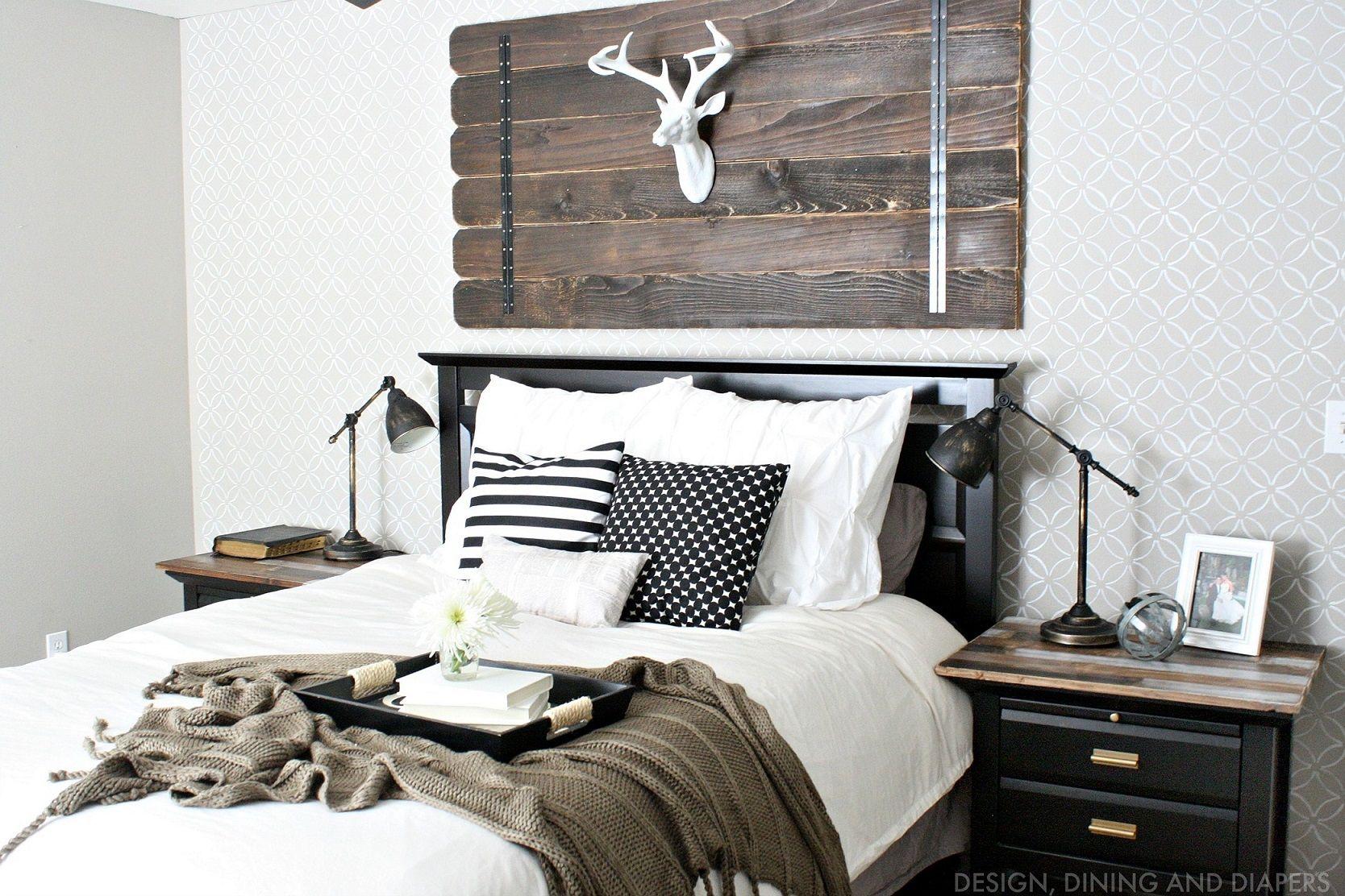 A Modern Farmhouse Bedroom, I See Wood Pedants Trims U0026u0027 White Enamel  Bedding Sheets
