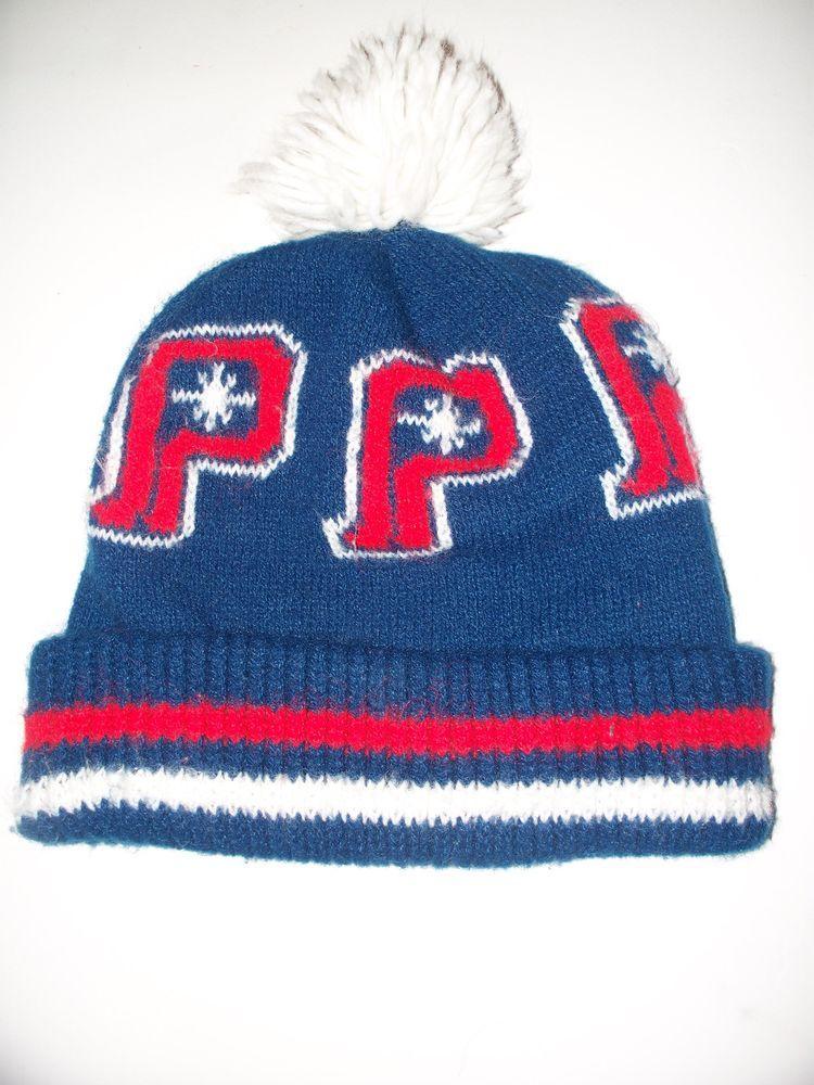 Vintage Polaris Winter Knit Snowmobile Stocking Cap Hat Pom