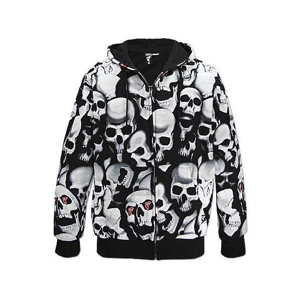 b0f2857d56f Famous Stars and Straps Skull Hooded Sweatshirt found on Polyvore featuring  tops