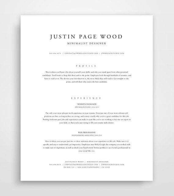 Classic Resume, Resume Template Instant Download, Resume and Cover