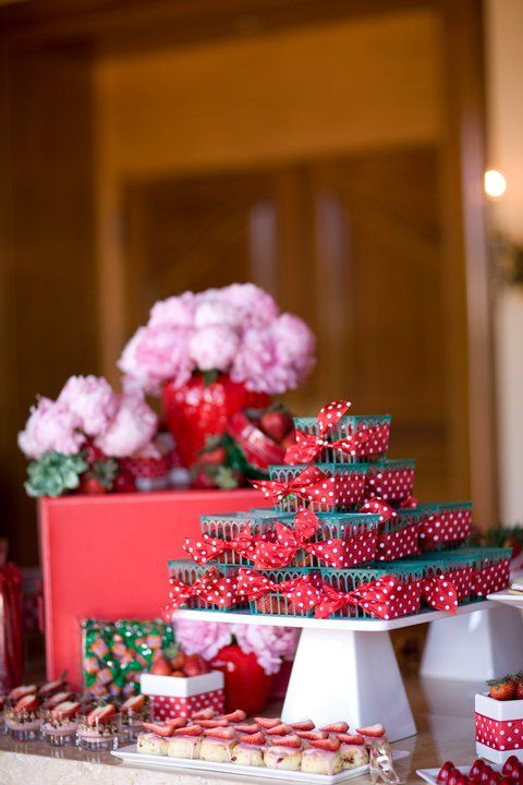 Strawberry dessert table with peonies