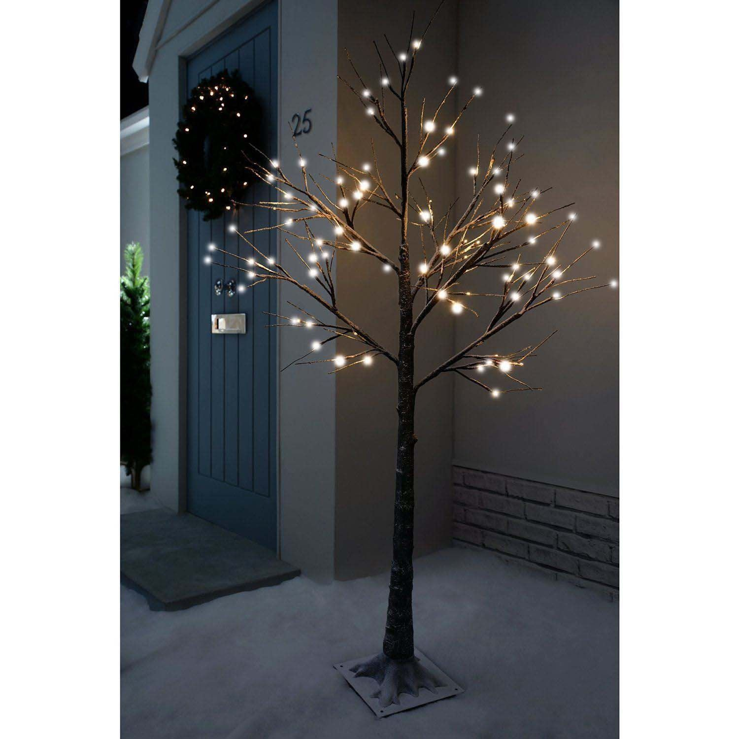 7 ft pre lit led christmas tree - Christmas Pre Lit Twig 120 Led Floor Standing 7ft Outdoor Indoor Snowy Effect Tree 210cm