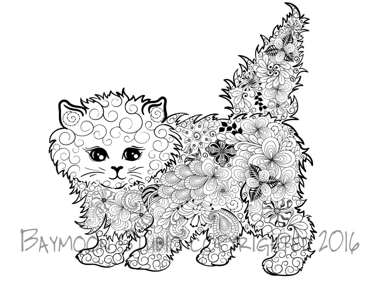 Gatito Fluffy Para Colorear Página Gato Por BAYMOONSTUDIO