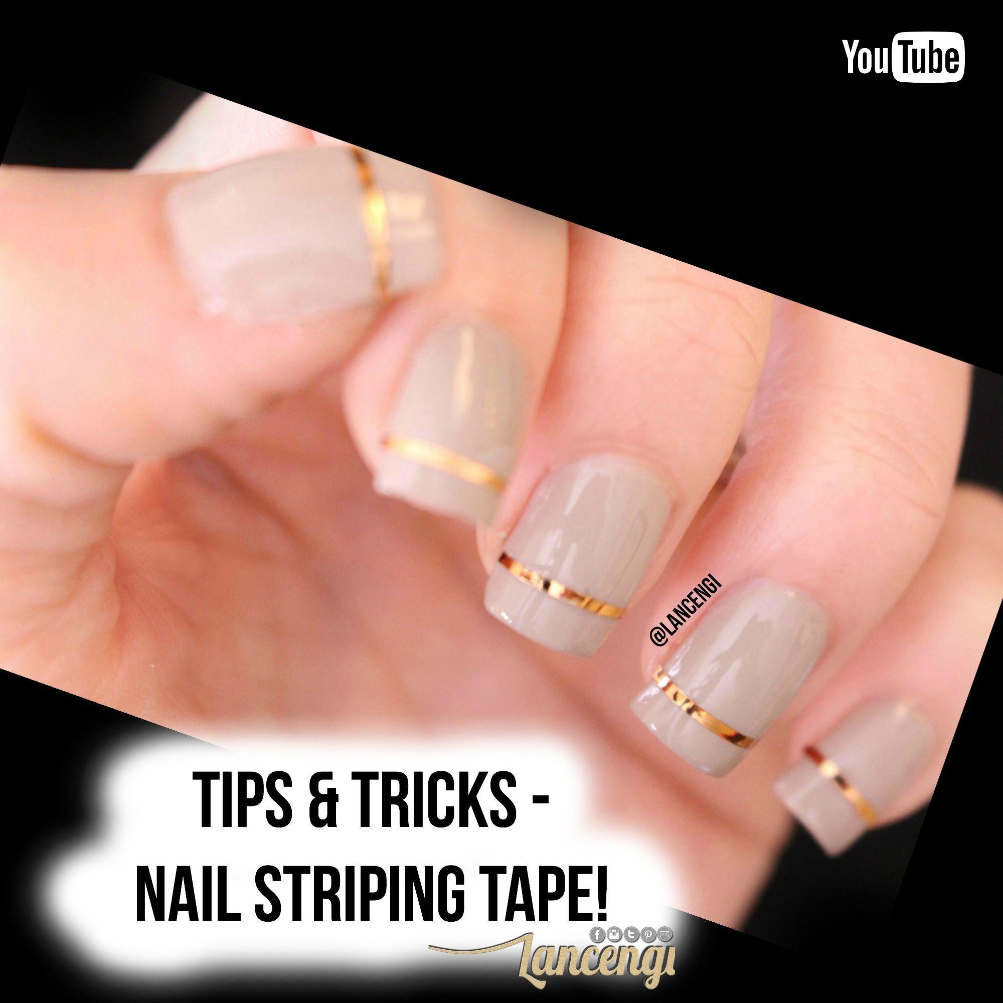 Tan Gold Nail Striping Tape Classic Nail Art Design Tutorial Full Video With Helpful Instructions On You Nail Striping Tape Classic Nail Art Tape Nail Art