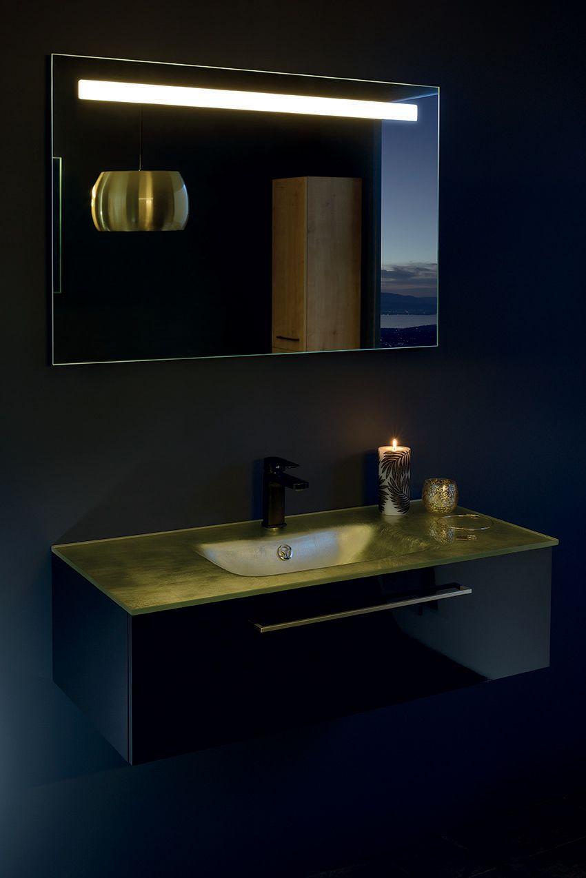 Une Salle De Bain Ambiance Hotel De Luxe Le Meuble Noir Avec Vasque En Or Pour Une Salle De Bain Pas Com Salle De Bain Design Sanijura Meuble Salle De Bain