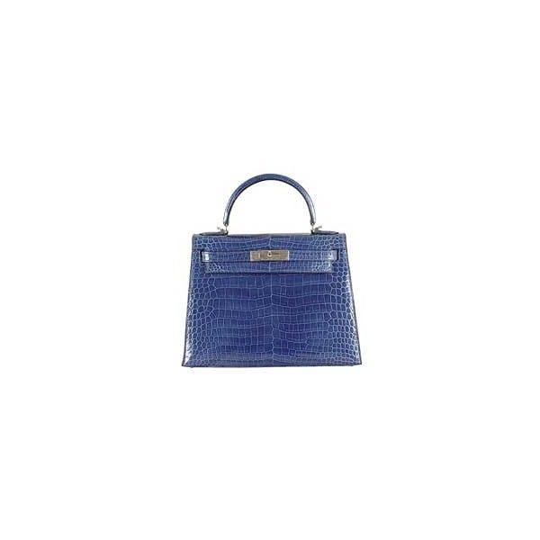 Hermes Blue Roi Crocodile Kelly Bag  f34083f63da43