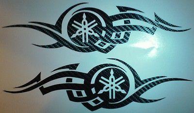 carbon fiber tribal yamaha decals set of 2 tuning fork star fzr v r1 fjr seni seni menggambar desain carbon fiber tribal yamaha decals set