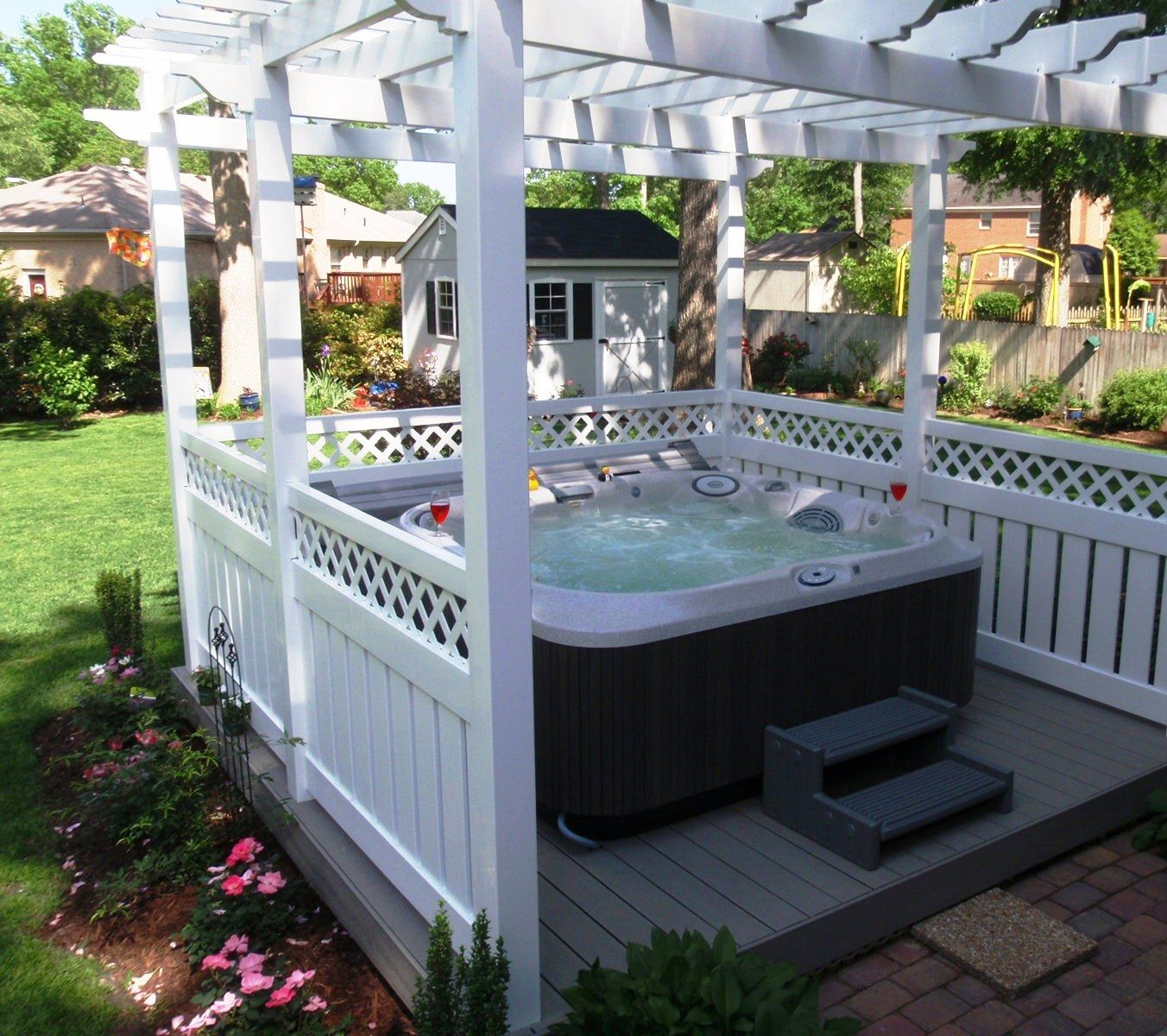 8 ways to place your original outdoor jacuzzi hot tubs. Black Bedroom Furniture Sets. Home Design Ideas
