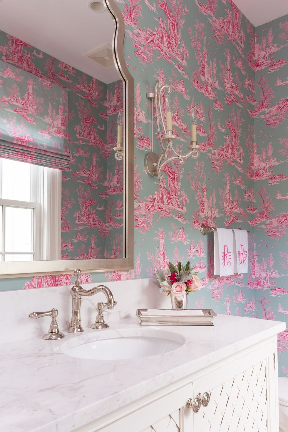 These Toile Wallpaper Ideas Will Transform Your Home Into A French Country Cottage Powder Room Design Toile Wallpaper French Country Cottage