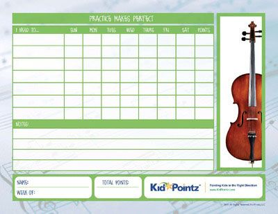 Music Practice Charts  Kid Pointz  Cello    Chart And