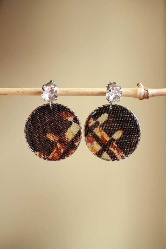 まんまるアフリカ生地ピアス/african print circle earring (4)