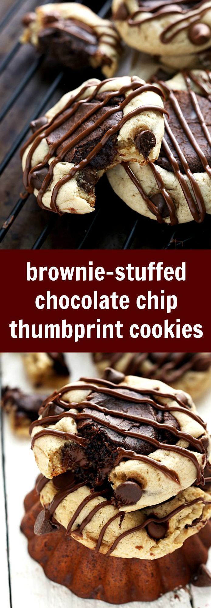 brownie center stuffed inside chocolate-chip cookies. Easy, creative, delicious!