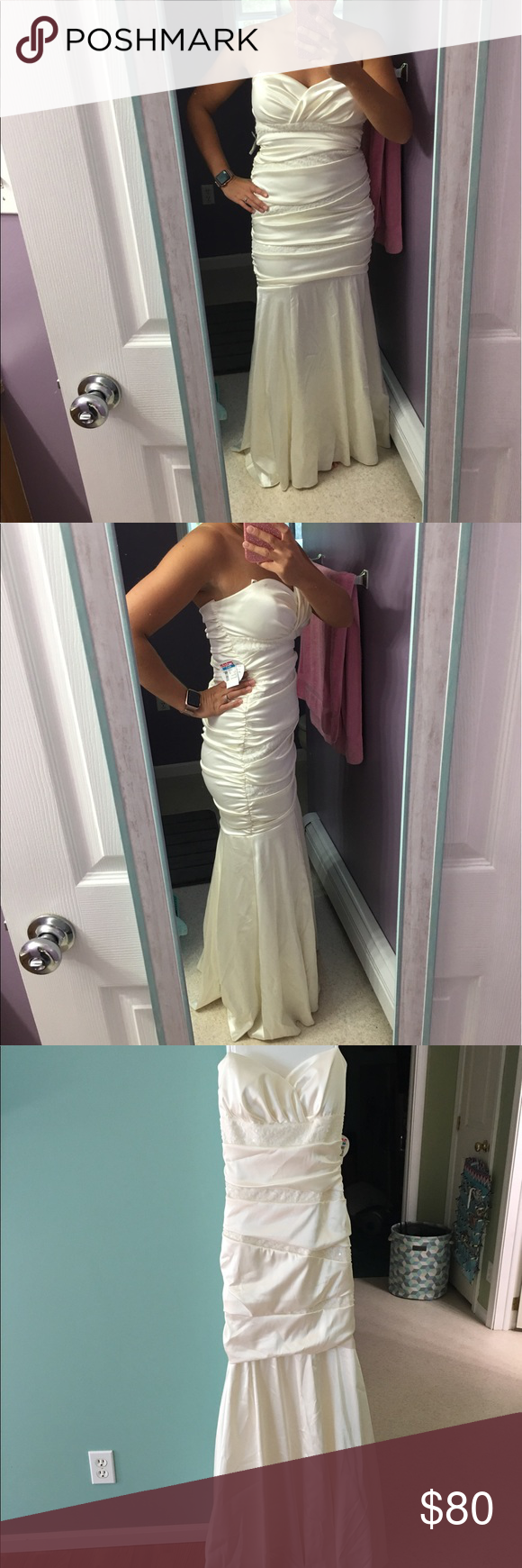 Deb white wedding or prom dress nwt prom mermaid and size