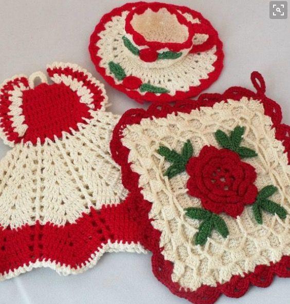 vintage crocheted potholders personal treasures pinterest topflappen handarbeiten und h keln. Black Bedroom Furniture Sets. Home Design Ideas