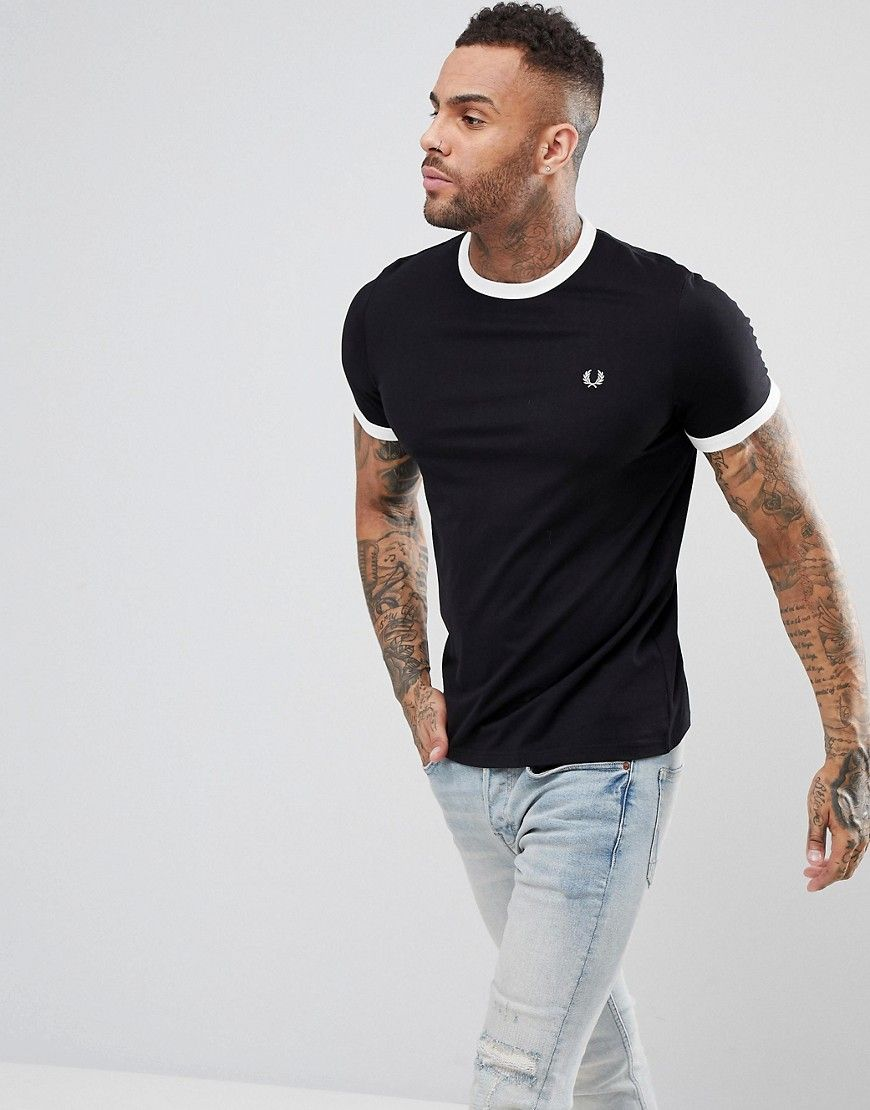 FRED PERRY SLIM FIT RINGER T-SHIRT IN BLACK - BLACK.  fredperry  cloth   983fcb7b043