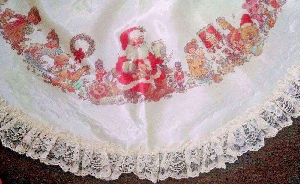 Vtg Christmas Tree Skirt Ivory Satin Lace Giordano Santa Workshop