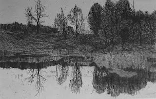 'Landschaft', by Felix Hollenberg.  Etching.