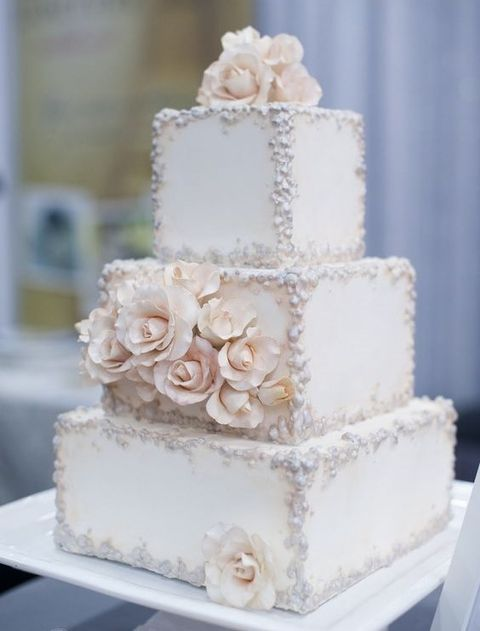 53 Square Wedding Cakes That Wow Ivory Wedding Cake Wedding Cake Toppers Wedding Cakes Vintage