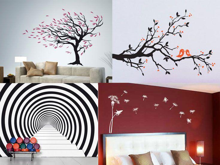 Adesivi murali per le pareti del soggiorno | Stencils-Stickers ...