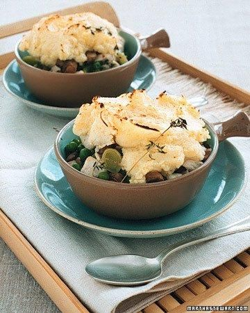Individual Chicken Potpies with Mushrooms and Peas Recipe