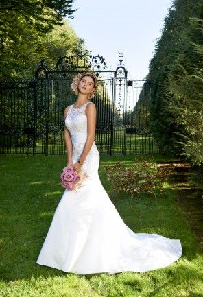 Wedding Dresses - Satin Mermaid Wedding Dress with Beaded Neckline from Camille La Vie and Group USA