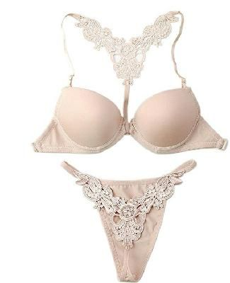 1104b6784d Sexy Skin Cream Color Women s Lingerie Push Up Bra and Thong Panty Set w   Rhinestones Size 36B
