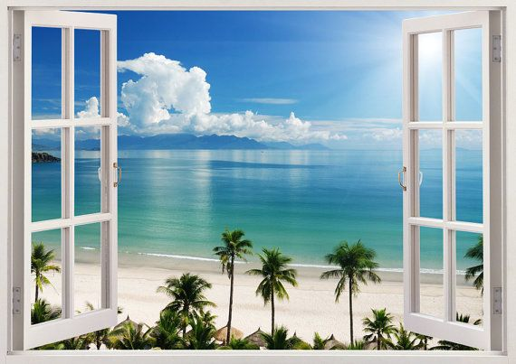 WALL STICKERS 3D Effect Window Palm Beach decorative sticker to the room 01