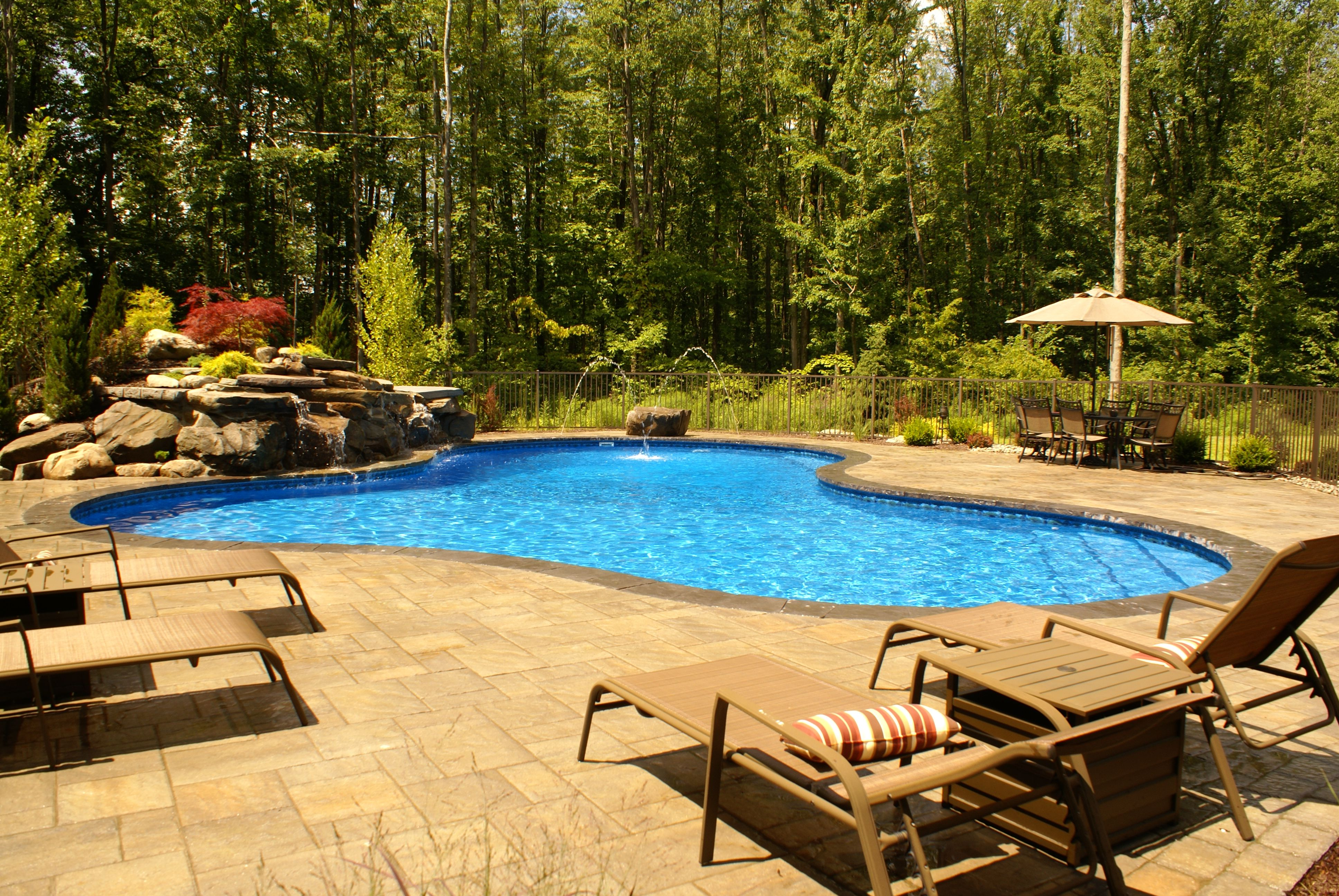 Freeform lagoon pool, hand built waterfall, rock diving board ...
