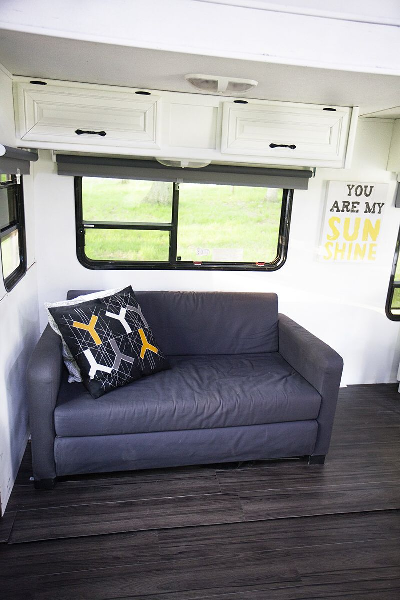 Newly Renovated Rv With Ikea Sleeper Couch And Pillows Remodeled