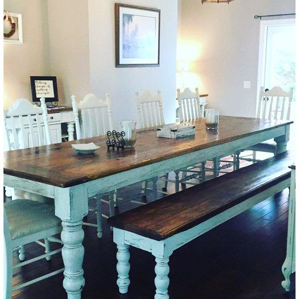 10 Foot Heart Pine Table And Bench 3 150 Liked On Polyvore Featuring Home Furnit Farmhouse Dining Room Table Farmhouse Dining Room Farmhouse Dining Table