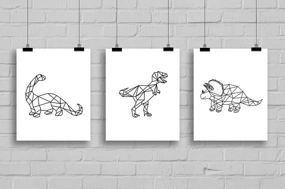 Geometric Triceratops Dinosaur Art Print - 8x10 Dinosaur Printable, Triceratops Print, Printable Art, Art boys, Three horn Art, Dino, Decor #dinosaurart