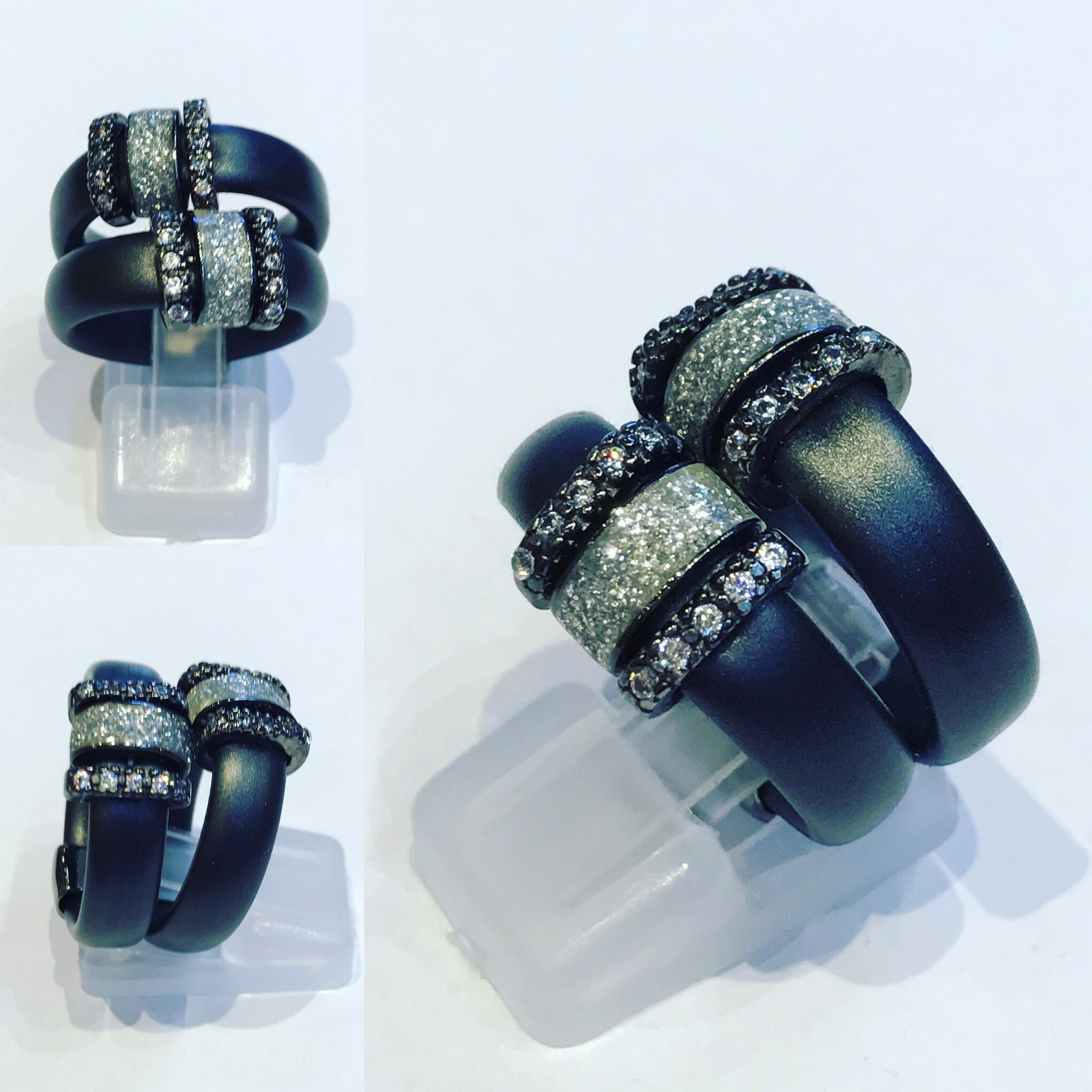 Ring with Silver 925, zircons and Rubber/Silicon. Us size 6.75 Eu 14 Price start at 114$ Available at: Www.bangslove.com