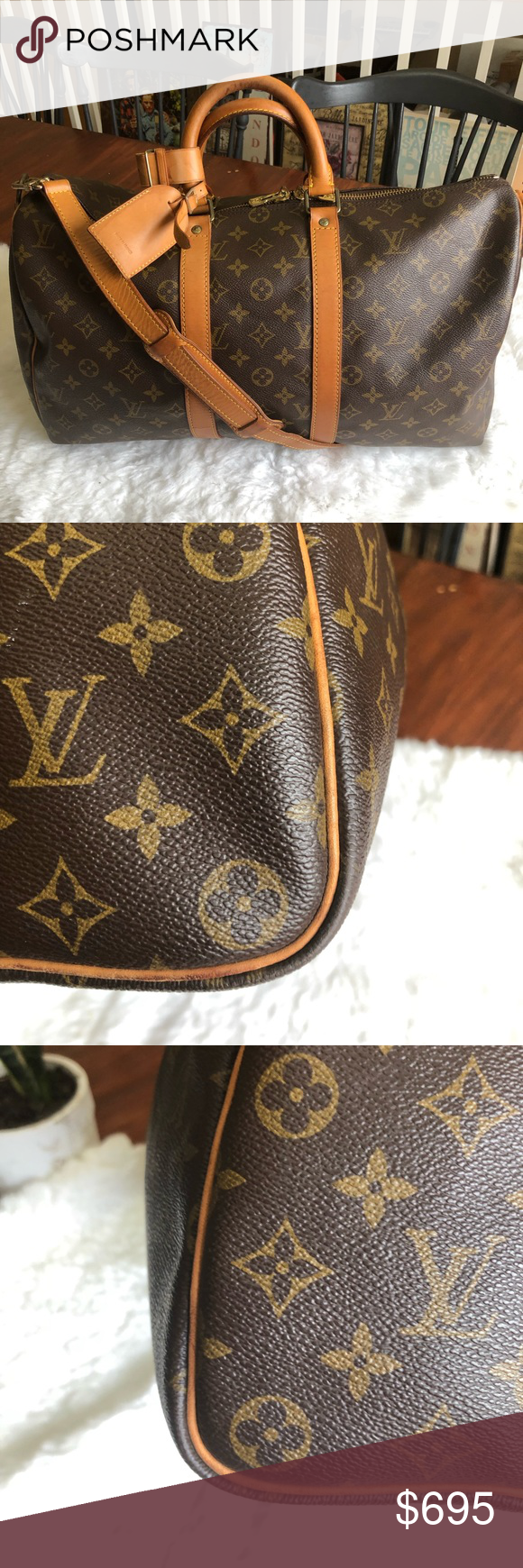 Keepal 45 Bando In Good Preloved Codition Show Sign Of Usage Esp In Vachetta No Cracks Kn Corner Inside Have Few Stain No Smell No Tr Louis Vuitton Louis Vuitton Monogram