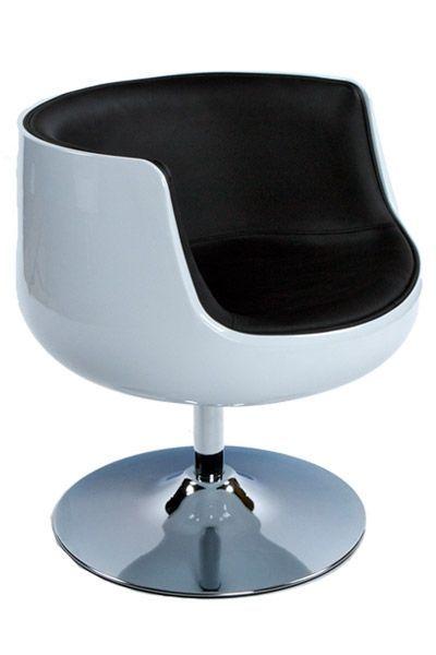 Fauteuil design Coque Boule blanc noir