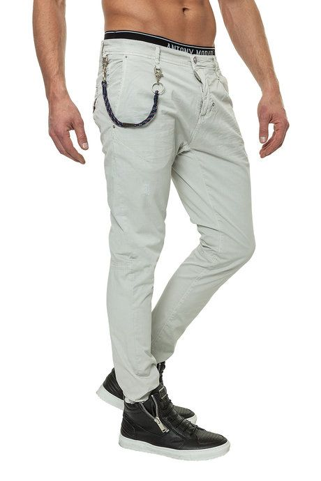 Herren Chino-Hose Antony Morato Schmale Passform Zwei Taschen vorne Zwei Taschen hinten Knopf mit Logo-Details Mit Gürtelschlaufen Leicht
