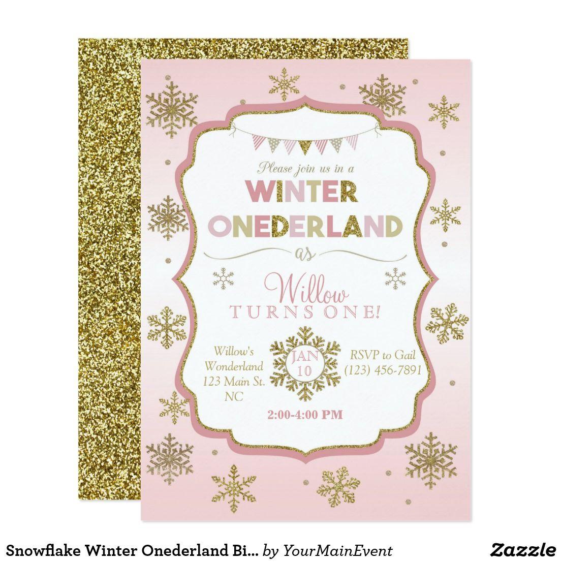 Snowflake Winter Onederland Birthday Invitation | Winter onederland ...