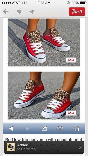 aecd9d40af8c3 DIY Custom Converse Chucks - red leopard print low top sneakers ...