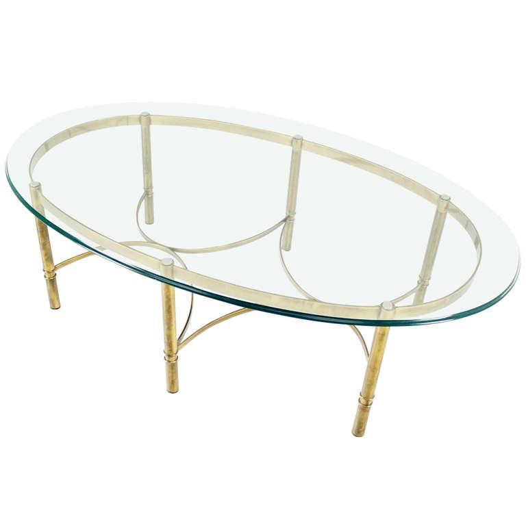Brass And Glass Oval Mid Century Modern Coffee Table Coffee
