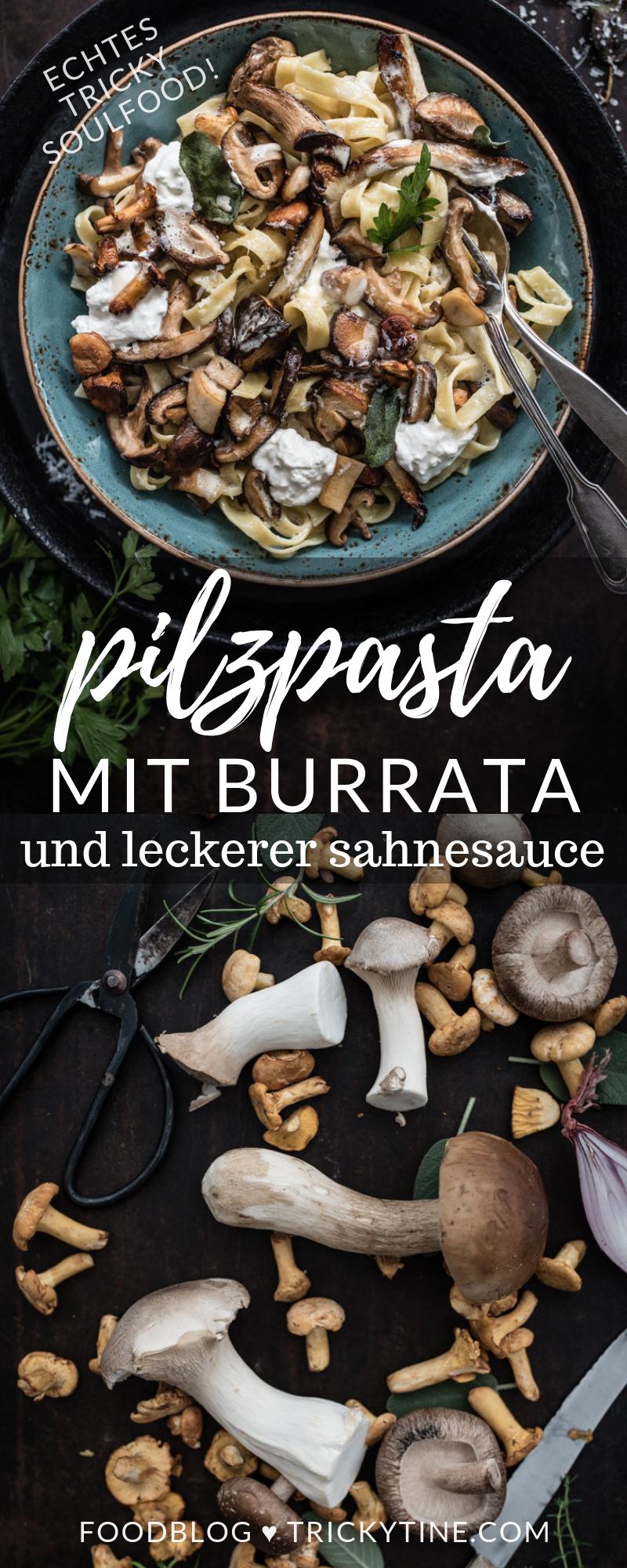 rezept für köstliche pilzpasta mit burrata ♥ herbstliches soulfood by trickytine #rezepteherbst